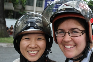 Riding on a motorcycle with my friend Cassie.