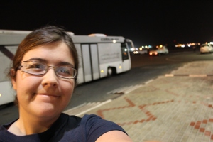 The only picture that turned out of me in Qatar; standing at the bus :)