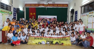 Vietnam and Singapore Deaf group (with me on the far left in pink skirt).