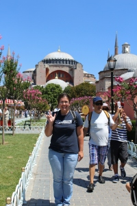 Standing in front of the Hagia Sofia.