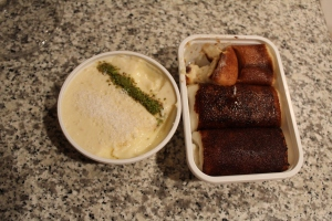 Two Ramazan desserts. On the left, a dessert made of tree sap. On the right, a pudding made of crystallized milk and chicken breast. Interestingly enough, my favorite dessert here!