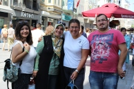 Sibel, Hanife, Me, and Iskender together on a street at Taksim.