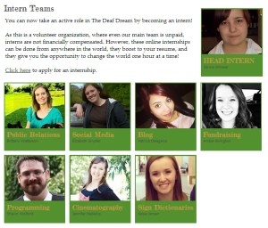 The Deaf Dream Internships Deaf and Hearing ASL Student Interns Volunteer Online Internships